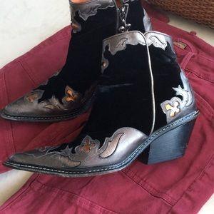 Donald J. Pliner velvet & leather ankle booties